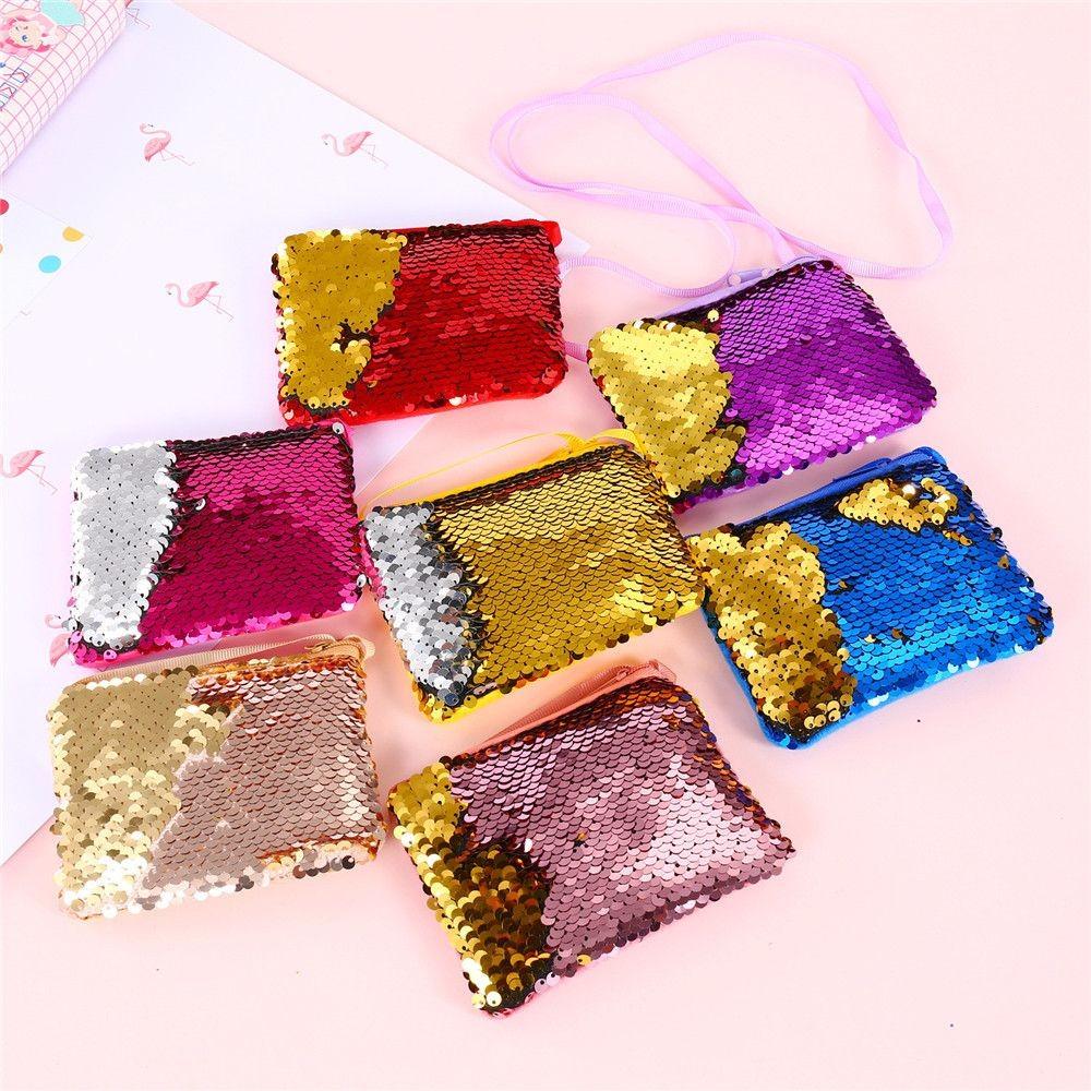 Bag For Kid Girls,Children Mermaid Sequins Coin Purse Sequins Children Coin Purses Handbags Zipper Wallets Cute Pouch Key Packet Shoulder Bag